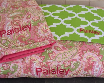 Dog Training Mat * Comfy Mat * Travel * Medium * Dogbed for a Crate * Pink * Green Paisley * Elephants * Lilly Inspired * Personalize * TSD