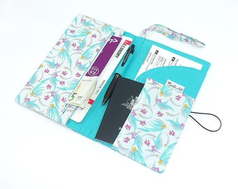 """Deluxe Solo Travel Wallet for one passport & travel documents holder in """"Queensland Gum"""" blue by Joella Hill Australian Seller"""
