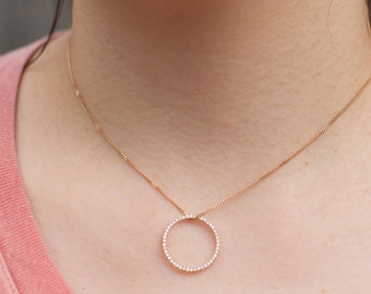 Diamond pendant necklace. Rose gold necklace. Simple Diamond necklace. Dainty Diamond pendant Diamond band Anniversary gift by Eidelprecious
