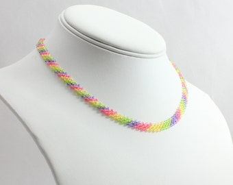 Girls Rainbow Seed Bead Necklace - Children's Beadwork Jewelry - Child's Daisy Chain Multi-Colored Necklace