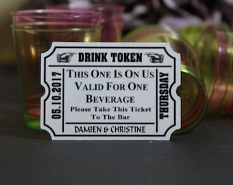 Drink Ticket, Personalised Wedding Drink Tags, Wedding Guest Free Drinks Token, Wedding Drinks Table Decor, TGS40