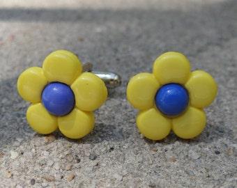 Blue and Yellow Flower Cufflinks