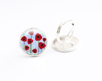 Poppy Ring, Glass Poppy Jewelry, Glass Photo Ring, Red Poppy Jewelry (poppy 5)