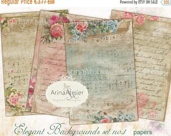 SALE - 40% OFF Elegant Background Papers Set no.1 - Background - digital collage sheet - set of 4 - Printable Download