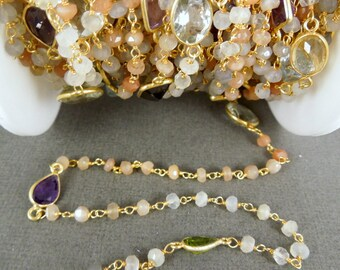 Moonstone and Assorted Gemsonte Connectors on Gold over Sterling Wired Wrapped Gemstone chain PER FOOT (Chn-236)