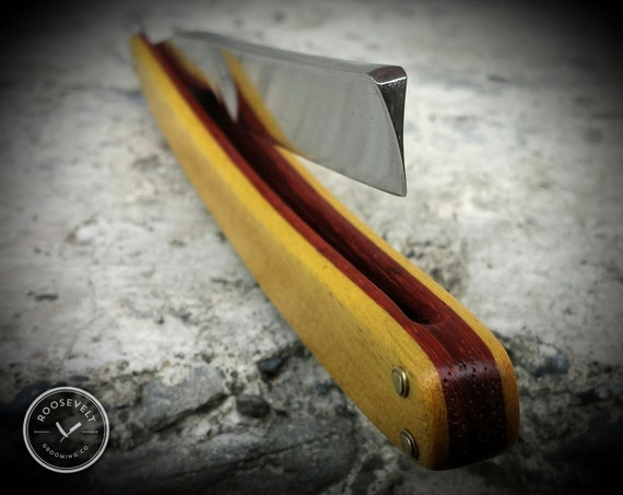 Intensely Colorful Restored Cutthroat Straight Razor with New Scales and Shave Ready Blade