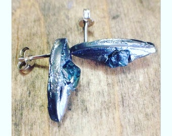 UnEarthed sterling silver and rough sapphire stud earrings