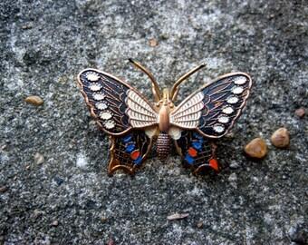 Vintage Gold Butterfly Brooch, Spain, Enamel, Copper, Brass, Spanish
