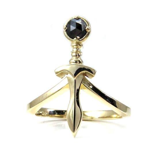 Rose Cut Black Diamond Dagger Midi Ring Sterling Silver 14k
