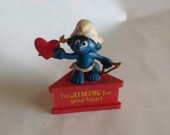 Vintage I'm Aiming For Your Heart Smurf-a-Gram cupid Valentines day Valentine