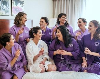 PURPLE COTTON ROBES - Bridal Party Robes - Bridesmaid Gifts - Bachelorette Robes - Spa Party Robes - Bridal Robe - Cotton Robe - Kimono Robe