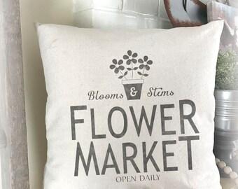 Spring Pillow, Flower Market, Flower Pillow Cover