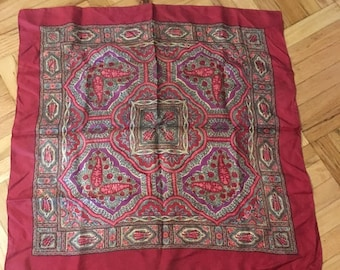 Vintage Liberty London Burgundy Paisley Silk Scarf