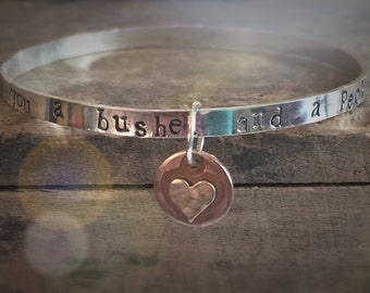 I Love You a Bushel and a Peck Gift, Personalized Message Bracelet Gift for Her Hidden Message Wanderlust Mantra Bracelet Customized Jewelry