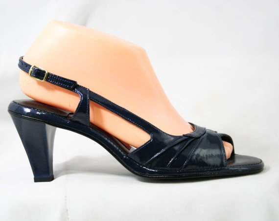 1970s Puppies 70s Hush Blue 1 Toe Peep Size Sexy Sandals Worn 9 Deadstock Late Never Asymmetric Heels Shoes Navy 43286 Z0xwv