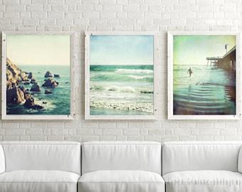 20 % Rabatt - Kalifornien-Strand-Druck-Set - Ozean - Druck 3er - Set Wand Kunst Teal Aqua Blue - Vintage-Stil-Strand-Kunst - Wohnzimmer Prints