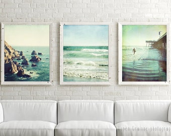 20% off - California Beach Print Set - Ocean Wall Art Set - Print Set of 3 - Teal Aqua Blue -  Vintage Style Beach Art - Living Room Prints