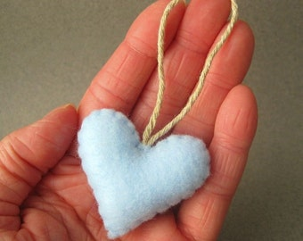 Baby Blue Eco Friendly Heart Ornament Home Decor Recycled Felt OlyTeam