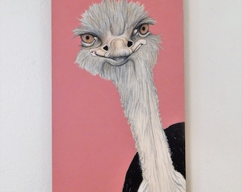 Ostrich painting on wood panel