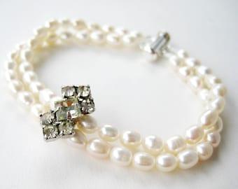 Rhinestone Pearl Bracelet, Silver Bridal Bracelet, Two Strands of Freshwater Pearls, Vintage Rhinestone Accent Wedding Jewelry, Julia