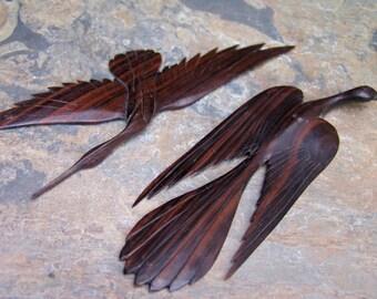 Vintage Carved Wooden Pair Birds in Flight