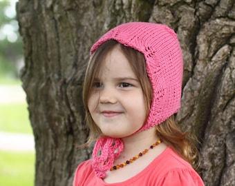 handmade knitted baby bonnet, newborn bonnet, toddler bonnet, coral pink bonnet, merino cotton bonnet, spring bonnet, autumn bonnet, lace