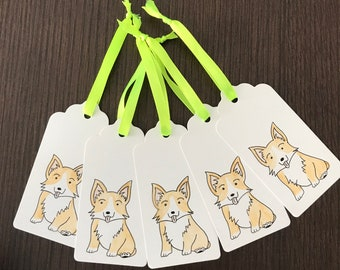 Pack of 5 hand painted corgi gift tags