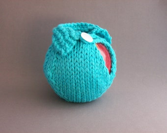 Apple Cozy Jacket/Sweater Handknit Cotton Aqua Blue Turquoise Crocheted White Button Loop Teacher  Gift under 20.