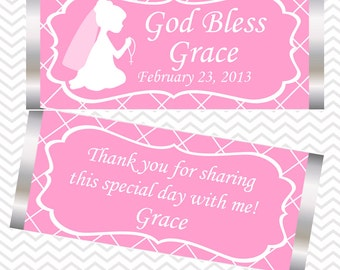 Kneeling Girl Pink Baptism Christening First Holy Communion - Personalized Candy Bar Wrapper