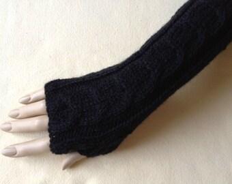 Luxury Hand Knitted Extra Long Soft Merino Wool Fingerless Gloves/Mittens Arm Wrist Warmers, Black