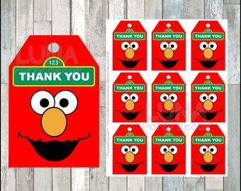 Elmo thank you tags instant download, Printable Sesame Street party tags, Elmo thank you tags