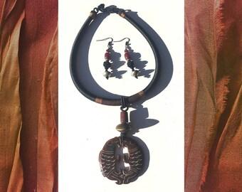 Lucky Koi: Jadeite, silk, Ethiopian brass. Necklace and earring set.