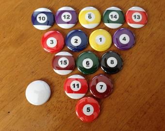 Billiard Balls Set of 16 Magnets 1 inch Pool balls, Pool, Billiards, Hobby Buttons