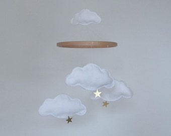 Cloud and Star Baby Mobile, Nursery Mobile, Crib Mobile, Gold or Silver Stars, Baby Gift