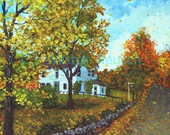John Greenleaf Whittier Birthplace in Autumn Signed Print by Mark Reusch