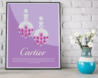 Vintage art deco earrings, digital download print, Cartier, 8x10 print, wall decor, wall art