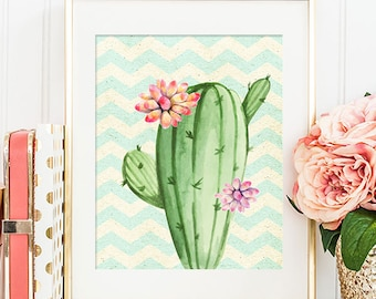 Cactus - 8x10 Printable Art, Floral Print, Floral Wall Art, Floral Decor, Home Decor, Apartment Decor, Dorm Decor, Cactus Art