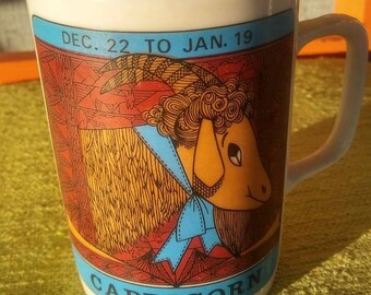 Vintage Zodiac Capricorn Mug by Elan 1960's Astrology Royal Crown