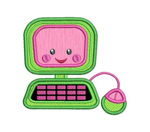 Computer Machine Embroidery Applique Design Girls Computer
