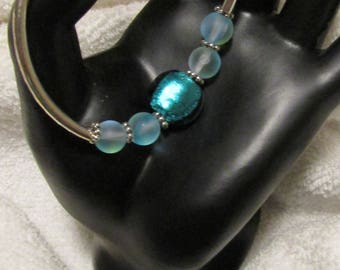 Teal/Silver Banded Bracelet & Pierced Earring Set