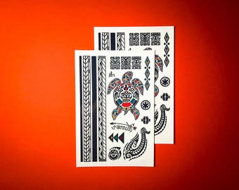 Temporary tattoos - The Maori Warrior // Tribal tattoos // armband // Party Favors