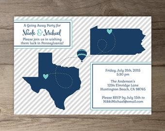 Going Away Party Invitations / Invites / Moving Announcements - printable / custom / map / state cut outs /