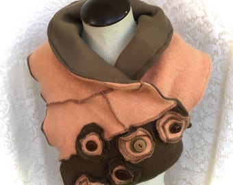 Scarf Neckpiece, Winter Cowl Collar, Upcycled Wool Angora Sweater, Peach Coral Brown, Fully Lined, #SCF189