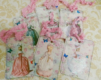 Gift Tags Marie Antoinette French Inspired Gift Tags Set 6 Seam Binding Ribbon Victorian Tags
