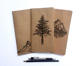 Montagne les voyageurs carnet 3 Pack, Journal de voyage, pin arbre Journal, carnet de voyage de Journal, les voyageurs cahier, Midori Journal Insert