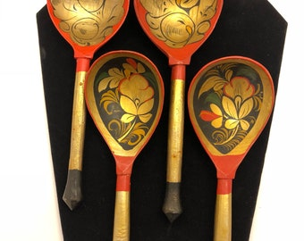 Unique Hand painted red black and gold wooden spoons set of 4