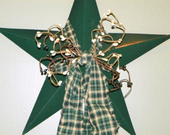 Metal Star in Forest Green 12 Inch Metal Star with Cream and Forest Green Pip Berries