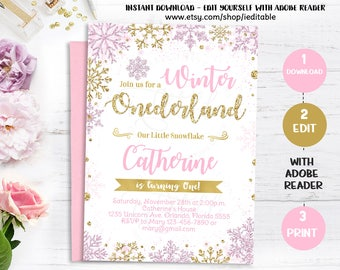 Winter Onederland Pink and Gold Invitation, Snowflake Invite, 1st Birthday Invitations, first invite, Winter wonderland Instant download