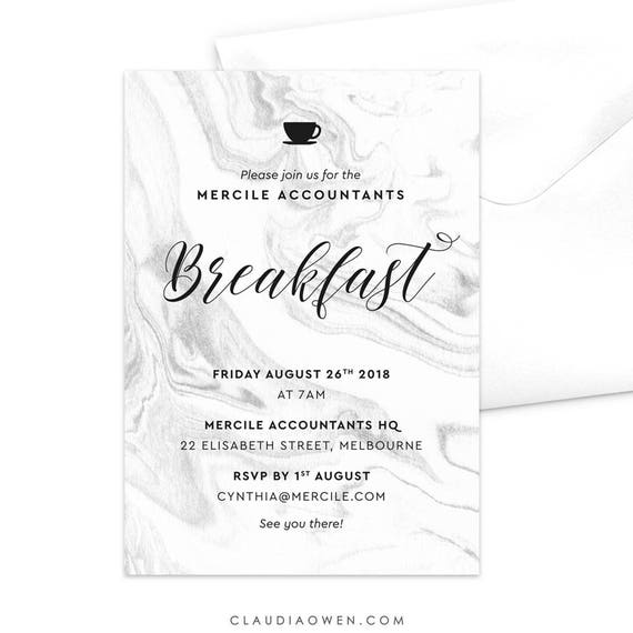 Breakfast Meeting Invitation Work Breakfast Birthday Breakfast