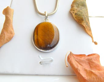 Natural Tiger's Eye Pendant, Brown Gemstone pendant, 925 sterling silver, Tiger's Eye gemstone, Tiger Eye necklace pendant, Christmas Gift